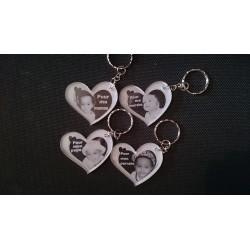 porte clé coeur avec photo et texte