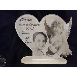 plaque funéraire cœur  ange