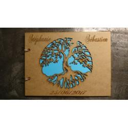 livre d'or en bois arbre de vie