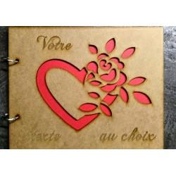 livre d'or en bois coeur avec rose