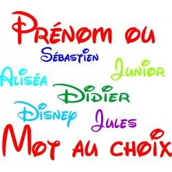 stickers autocollant 10 cm  police d'écriture Disney