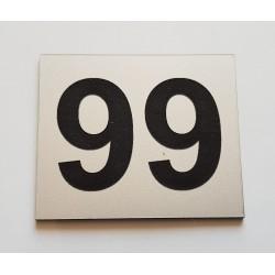Plaque numéro de boite aux lettres personnalisée argent écriture noir 60x50mm
