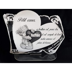 plaque funéraire enfant ourson coeur ballon personnalisée texte au choix