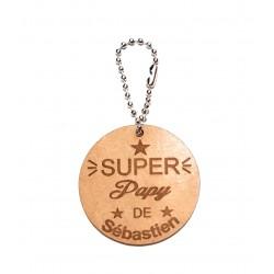porte cléf clé en bois personnalisé  super papy ou mamie