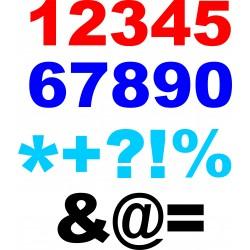 flocage thermocollant numéro chiffre ou ponctuation au choix police d'écriture arial black