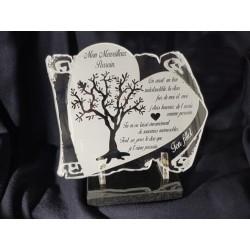 plaque funéraire parchemin coeur arbre de vie sur socle en marbre