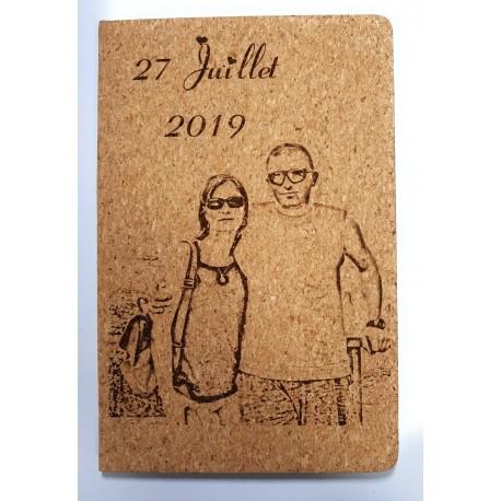 livre d'or en liège avec stylo  personnalisé avec photo ou image mariage événement baptême communion