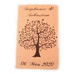 livre d'or en liège arbre de vie papillon  personnalisé avec le texte de votre choix mariage baptême communion