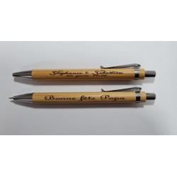 Coffret stylo et porte mine en bambou, fête des pères, fête des mères, cadeau maitresse, atsem, départ en retraite